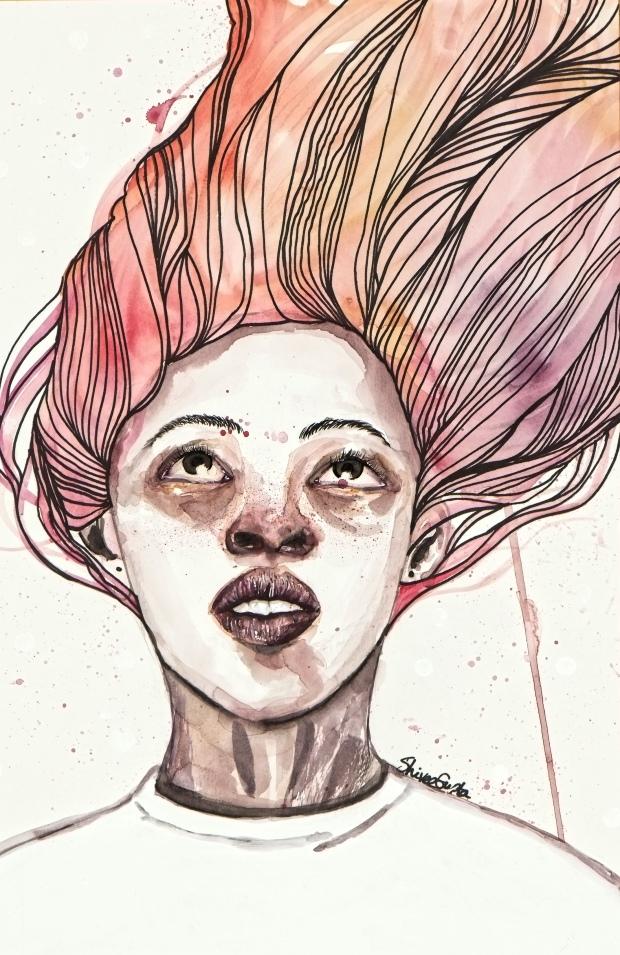 shivee gupta art girl with pink hair watercolor - Shivee Gupta (1).jpg